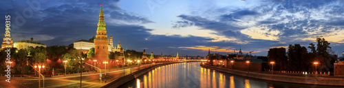 Wall Murals Moscow panoramic photo of the Moscow Kremlin and Moscow river at sunrise