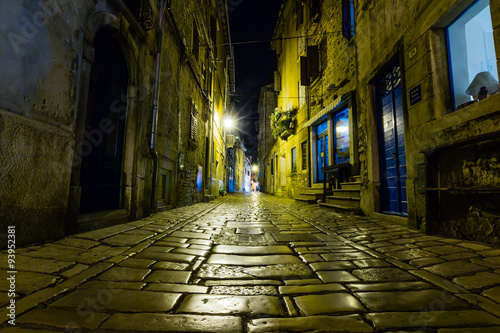 Canvas Prints Narrow alley Narrow street in night of old town of Rovinj, Croatia