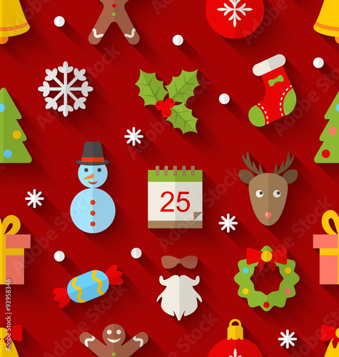 Cotton fabric Seamless Pattern with Christmas Colorful Objects