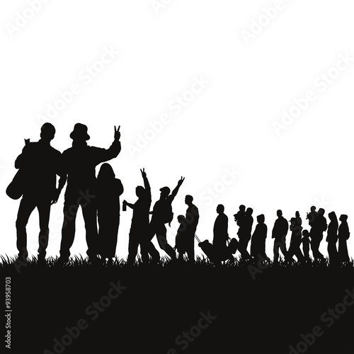 Valokuvatapetti Flüchtlinge Silhouetten