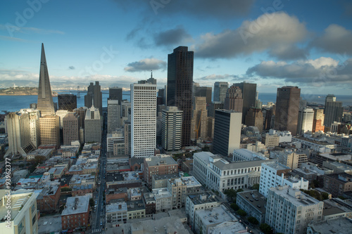 City on the water Aerial Views of San Francisco Financial District from Nob Hill, Sunset