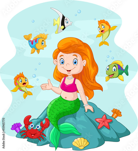 Wall Murals Mermaid Happy little mermaid sitting on the rock surrounded by fishes