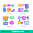 Black Friday Is Coming! Shopping theme flat vector illustration set: bag, sale, calculator, discount, counting,delivery, discount tag. Stock vector.