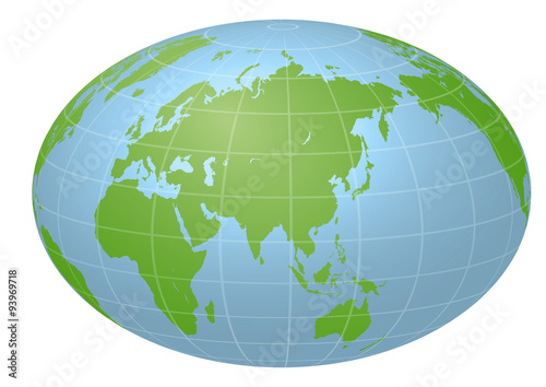 Fotografie, Tablou  Pseudo Earth that contains the whole world map, image illustration