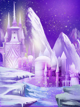 Illustration: The New Snow Palace Moved To North Pole, It Was Snowing. Fantastic Cartoon Style Scene Wallpaper Background Design.