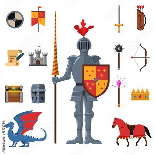 Fotografie, Obraz  Medieval kingdom knights flat icons set