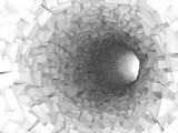 Fototapeta Fototapety do przedpokoju - Tunnel with walls made of chaotic blocks 3d