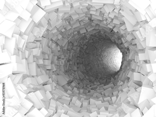 Tunnel with walls made of chaotic blocks 3d