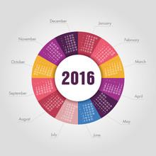 Calendar For 2016 Round Shape....