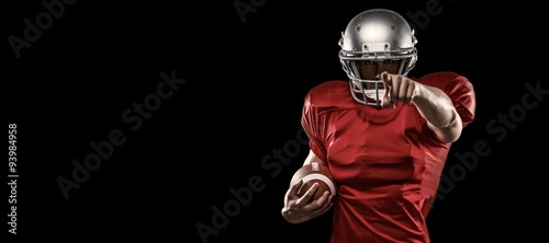 Fotografie, Tablou  Composite image of portrait sports player in red jersey pointing