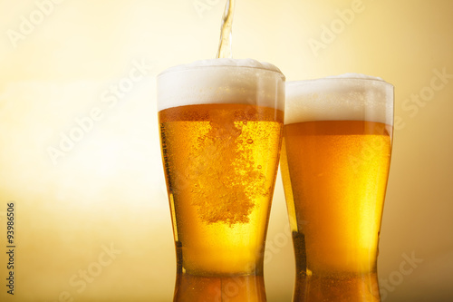 Photo ビール Beer into glass
