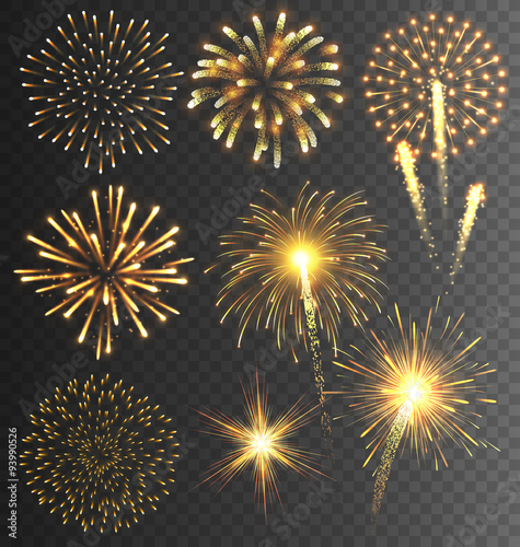 Fotografía  Festive Golden Firework Salute Burst on Transparent Background