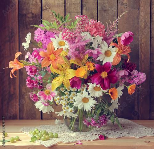 Summer still life with a bouquet