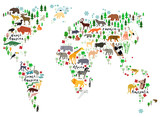 Animal map of the world for children and kids - 93993192