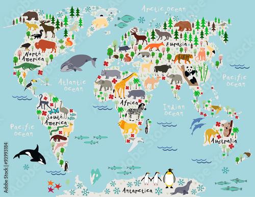 Fototapeta mapa świata dla dzieci  zwierzeca-mapa-swiata-dla-dzieci-i-dzieci
