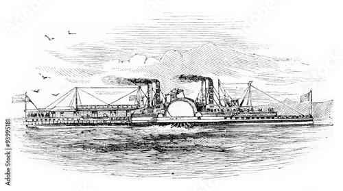 Valokuva Mississippi Steamboat, vintage engraving.