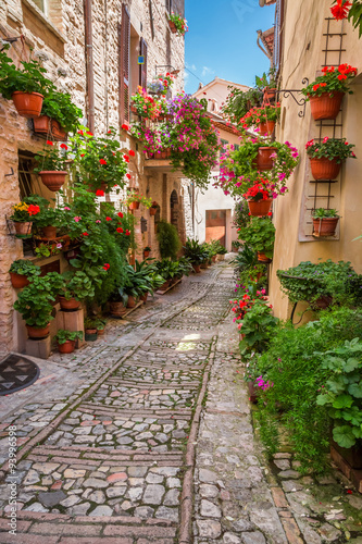 Fototapeta Porch in small town in Italy in sunny day, Umbria obraz