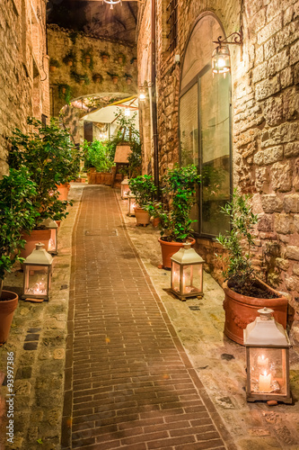 mata magnetyczna Beautiful decorated street in small town in Italy, Umbria