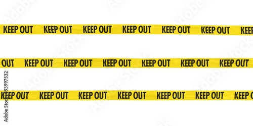Photo  KEEP OUT Tape Lines Isolated on White