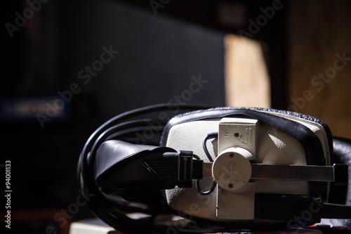 Aluminium Prints Scooter headphones, earphones for recording on a shelf in a recording studio
