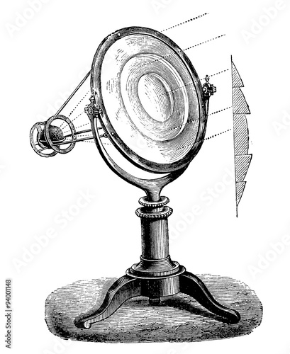 Obraz na plátně  Vintage engraving, fresnel lens, (lighthouse lens) working and section