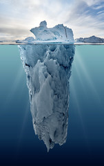 Fototapeta Industrialny iceberg with underwater view