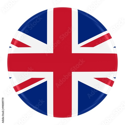 Fotografie, Obraz  Union Jack Flag Badge - Flag of the United Kingdom Button Isolated on White