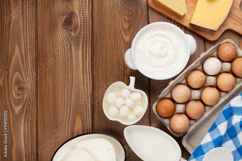 Fotobehang Zuivelproducten Dairy products. Sour cream, milk, cheese, egg, yogurt and butter