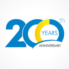 200 Years Anniversary Logo. Template Logo 200th Anniversary With A Circle In The Form Of A Graph And The Number 20