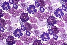 Purple Floral Pattern On White Fabric. Mauve Abstract Flowers Print As Background.