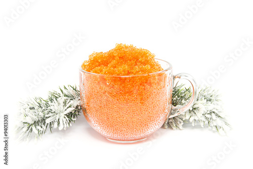 Roe piscine caviar in the New Year against a white background
