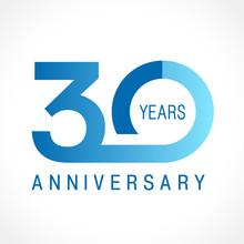 30 Anniversary Classic Logo. The Plain Ordinary Logotype Of 30th Birthday.