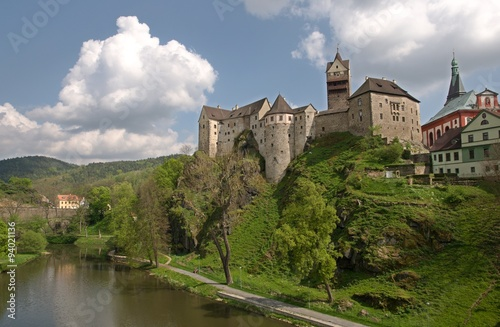 Castle and town Loket in western Bohemia Poster