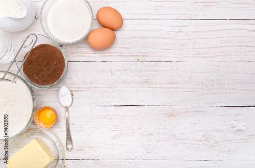 Fotografie, Obraz  Baking cake ingredients . Background.