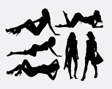 Sexy Girl Holiday Silhouettes. Good Use For Symbol, Logo, Web Icon, Game Element, Mascot, Or Any Design You Want. Easy To Use.