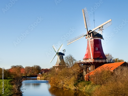 Photo sur Toile Moulins Greetsiel, traditional Dutch Windmill