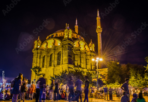 Ortakoy square with famous mosque next to it is one of the most famous places in Poster