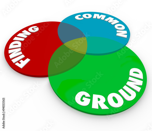 Finding Common Ground 3 Venn Diagram Circles Shared Interests Buy