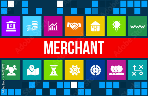 Fotografía  Merchant concept image with business icons and copyspace