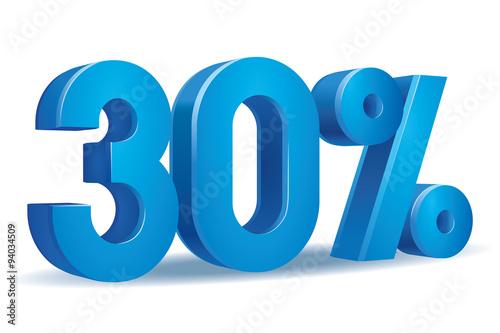 Fotografía  Vector of 30 percent in white background