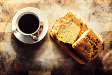Homemade Pound Cake On A Wooden Table