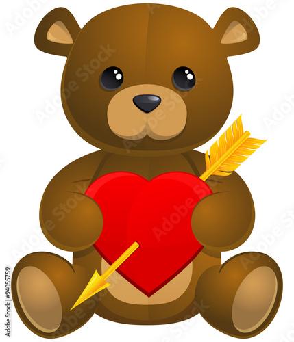 Sitting teddy bear with a heart. #94055759