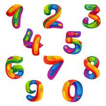 Numbers Set In Volume Splash S...
