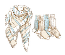 Sketch Of Winter Clothes.
