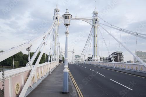 Albert Bridge and Lamppost, Chelsea; London Poster