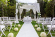 canvas print picture - Wedding path and decorations for newlyweds. In Nature in the garden.