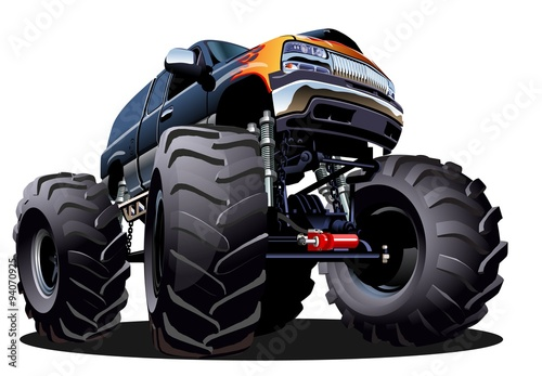 Staande foto Cartoon cars Cartoon Monster Truck