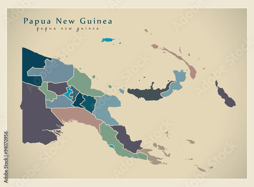Fototapeta Modern Map - Papua New Guinea with provinces colored PG