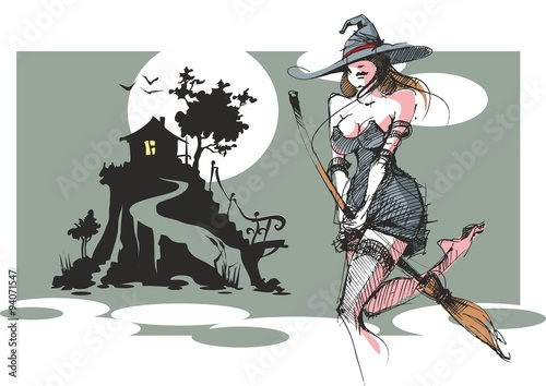 Photo sur Toile Art Studio witch on a broomstick