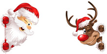 Santa And Rudolph Banner Side